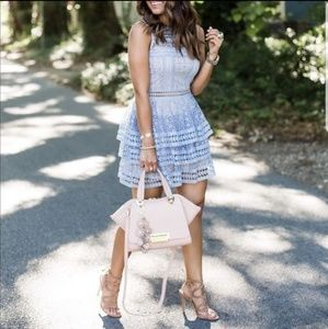 [Express] Tiered Lace Fit and Flare Dress 10